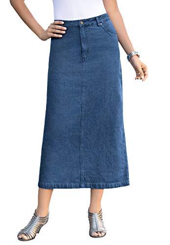 Jessica London Women's Plus Size Classic Cotton Denim Long Skirt 100% Cotton - 20, Medium Stonewash