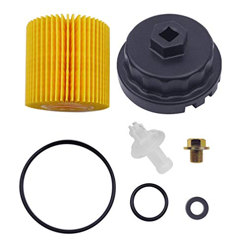 Genuine Oil Filter,Wrench,Oil Drain Plug Compatible With Lexus,Toyota,Camry,RAV4,Highlander,Sienna,Tundra And More With 04152-YZZA1 Oil Filter-Fits 64mm Cartridge Style Oil Filter Housing