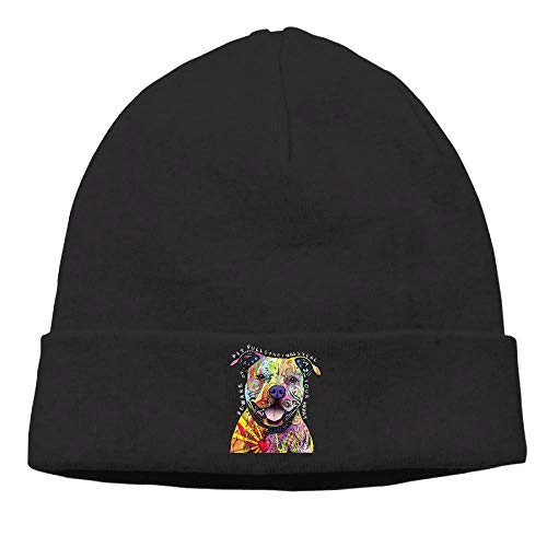 Mens and Womens Pitbull Dog Silhouette-1 Knit Cap Cotton Beanies Cap