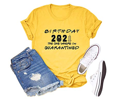 Anbech Birthday 2021 The One Where Im Quarantined Friends TV Shirt Social Distancing Graphic (Yellow, X-Large)
