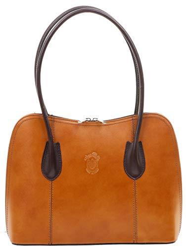 Primo Sacchi Damen Italienisch glattes hellbraunes und dunkelbraunes Leder handgefertigte klassische Handtasche mit langem Griff Tragetasche oder Umhängetasche