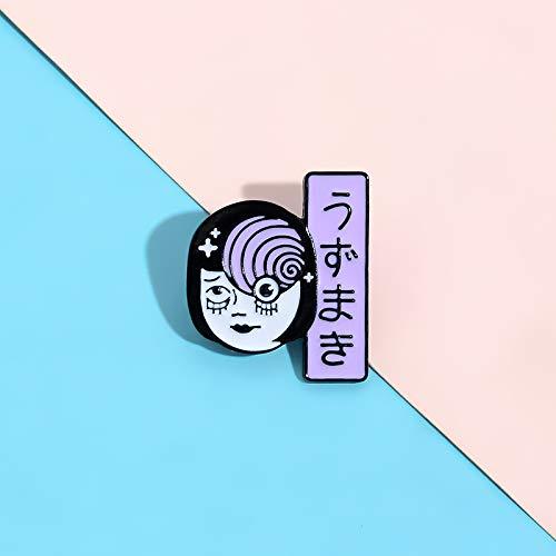QISKAII Japanische seltsame Frau Gesicht Pins Uzumaki Whirlpool Ghost Girl Broschen Abzeichen Pins für Rucksack Schmuck Geschenke für Freunde