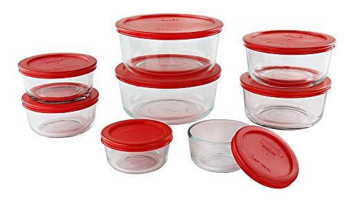 Pyrex FBA 1126079 16 Piece Simply Store Nesting Storage Set, Clear, Glass