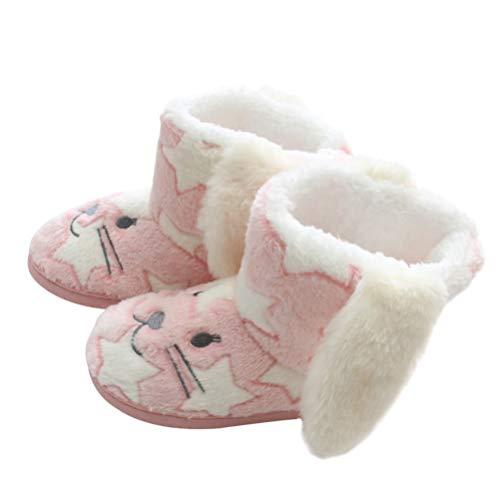 Holibanna 1 par Pink Bunny Rabbit Botas de Nieve de Invierno de Piel Sinttica para Mujer Botines Planos Zapatos de Invierno Clidos Botas Altas Difusas Botas de Disfraz de Pascua Zapatos