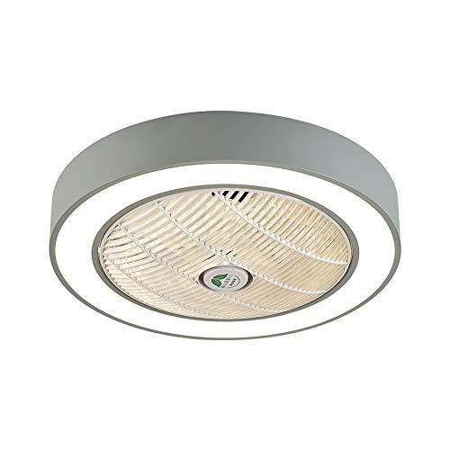 Ventilador de techo redondo de 22 pulgadas, con iluminación y mando a distancia, color gris