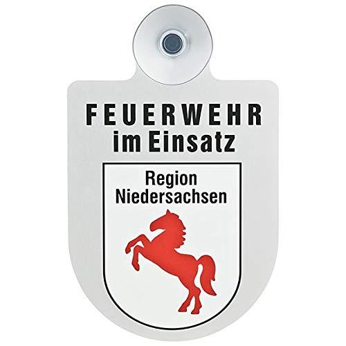 Alu Saugnapf Wappen Schild Feuerwehr im Einsatz mit Wappen Niedersachsen