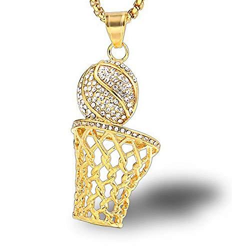 Burenqi Joyería De Hip Hop Iced Rhinestone Basketball Colgantes Collares De Acero Inoxidable Deportes Collar,Gold