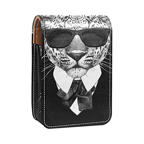 Estuche de lápiz Labial para Bolsa de Maquillaje para Exterior Mini Bolsa de Viaje Estuche cosmético Leopardo con Gafas de Sol y Corbata para Mujeres Regalos