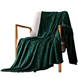 """Exclusivo Mezcla Large Flannel Fleece Throw Blanket, Jacquard Weave Leaves Pattern (50"""" x 70"""", Forest Green) - Soft, Warm, Lightweight and Decorative"""