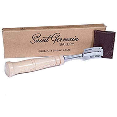 SAINT GERMAIN Premium Hand Crafted Bread Lame with 5 Blades Included - Best Dough Scoring Tool with Authentic Leather Protective Cover