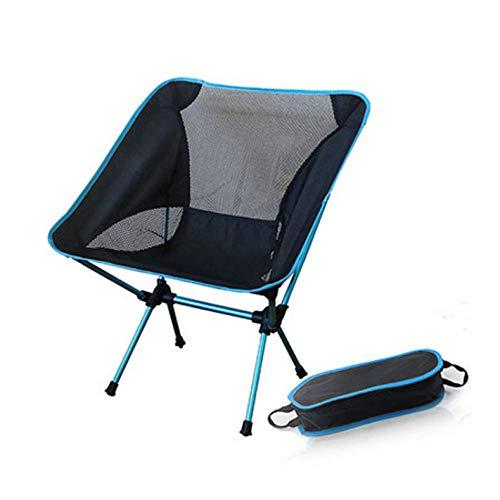 laoga Tragbarer zusammenklappbarer Mondstuhl Angeln Camping Grillhocker Klappbarer erweiterter Wandersitz Garten Ultraleichter Outdoor-Stuhl Table-Sky_Blue_B