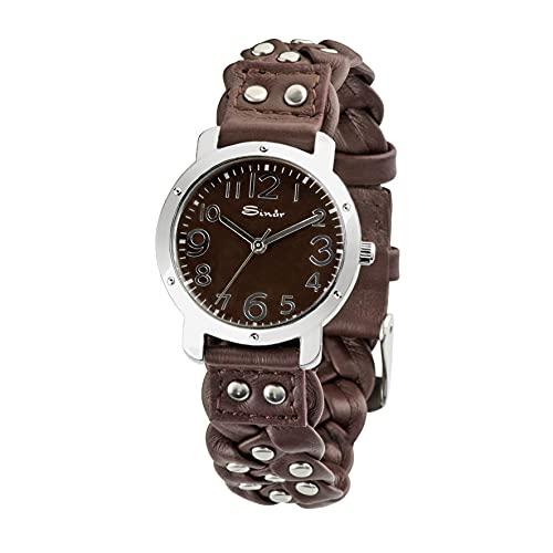 SINAR Armbanduhr mit Flechtband und Nieten Leder Stahl Analog Quarz TL-75-5