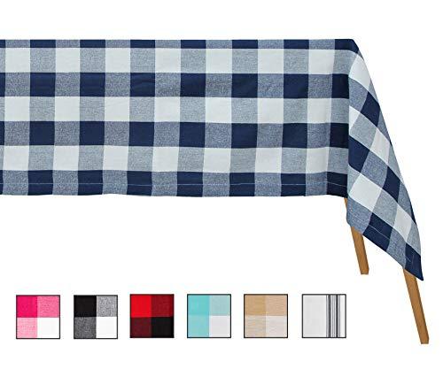 Paños de mesa extra grandes rectangulares - Mantel de algodón a cuad