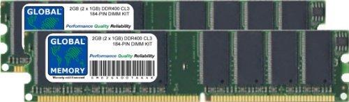 2 GB (2 x 1 GB) DDR400 MHz PC3200 184 Pines DIMM Kit de Memo