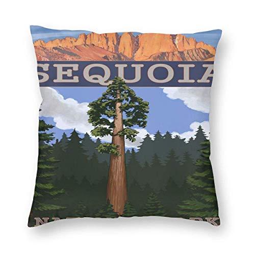 Sweet grape Funda de almohada cuadrada Sequoia National Park California Sequoia Tree and Palisades Fundas de cojines con cremallera para sofá de 18 x 18 pulgadas