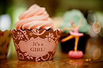 Bella Cupcake Couture Hannah Pink And Brown It s a Girl Cupcake Wrapper Set of 12