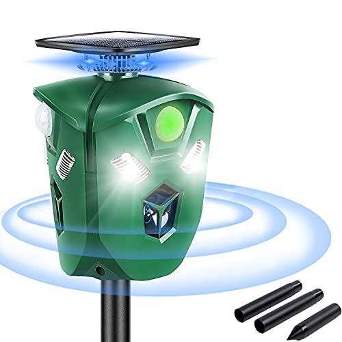Ahuyentador Repelente Ultrasónico 360°, Impermeable Repelente de Animales Ultrasónico con Tres direcciones LED Destella, Carga Solar y USB, Sensor PIR, para Zorros Perros Murciélago Ratones Pájaros