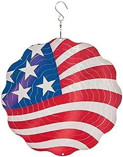 Evergreen Garden American Flag 10 inch Metal Spectrum Spinner