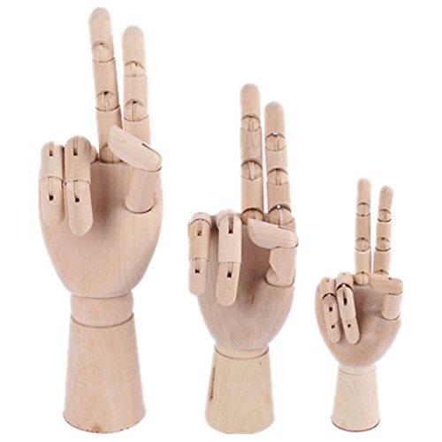 MELARIO Link Recht Holz Hand Gliederpuppe Modellhand 7'', 8'', 10'', 12'' (Linke Hand(7''=18.6cm))