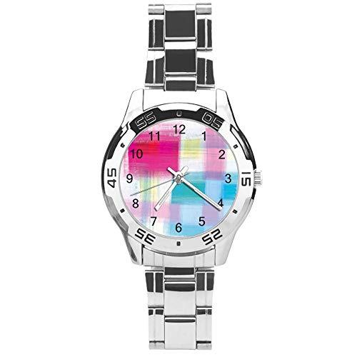 Klassiek driehands kwarts horloge met roestvrij stalen band, wijzerplaat regenboog pigment penseel Graffiti, verstelbare automatische riem, zilver, voor Unisex, beste cadeau (41mm) lmsupm6dmooc