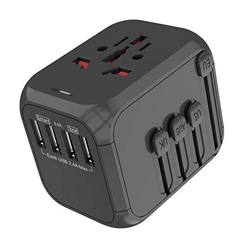 Running Bulls Adaptador de Corriente de Viaje USB Universal,3 Puertos USB Y de Tipo C Cargador de Pared Internacional Universal Enchufe AC Enchufe AC 8 Pines Multipaís (Negro-4)