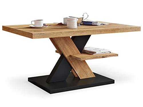 Viosimc Couchtisch Eiche Retro & Schwarz, Vintage Dekor Wohnzimmertisch, Retro Decor Sofa Tisch, Coffee Table for Living Room, Modernes Tisch Wohnzimmer (Retro, Black)