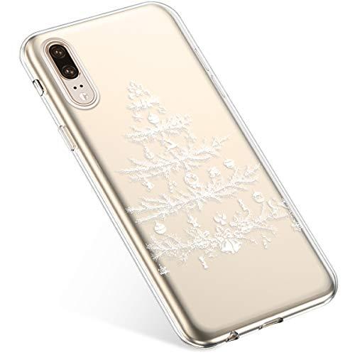 Uposao Kompatibel mit Handyhülle Huawei P20 Schutzhülle Silikon Transpatente Hülle mit Weihnachten Muster Durchsichtige Handytasche Ultra Dünn Weich TPU Bumper Case Backcover,Weiß Baum