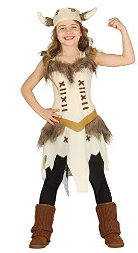 Guirca Wikingerin Kostüm für Mädchen - Größe 110-146 - Kinder Fasching Karneval, Größe:128/134
