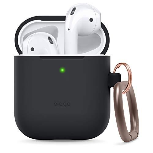 elago Silikonhülle mit Karabiner Kompatibel mit Apple AirPods 1 und 2 (LED an der Frontseite Nicht Sichtbar) - [Unterstützt kabelloses Laden] [Stoßfeste Schutzhülle] - Schwarz