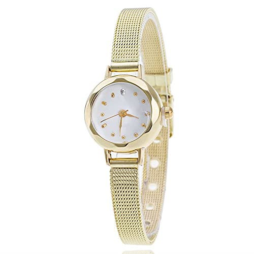 Reloj de cuarzo de acero inoxidable plateado de 22 mm para mujer, de fácil lector, banda de expansión, correa de malla, dorado, 22 mm