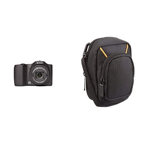 Kodak FZ101 Pixpro Friendly Zoom Kompaktkamera (16MP, 10-Fach Opt Zoom, 25 mm Weitwinkel, 2,7 Zoll Display, 720p-HD-Video) & Amazon Basics Kameratasche für Kompaktkameras, groß
