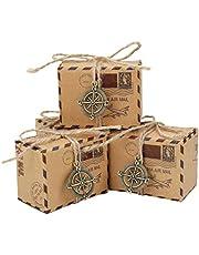 Bomboniere Scatole Regalo, 50pcs Vintage Sacchetto di Caramelle di Carta Kraft Ideale per Confetti, Caramelle, cioccolatini, Gioielli e Regali Piccoli