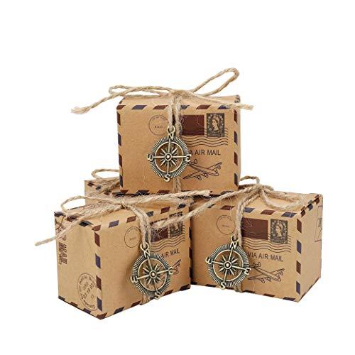 Kraft Papier Geschenkbox Schmuck Schachtel Gastgeschenke Süßigkeiten Schokolade Kartonagen Bonboniere Favour Box mit Sackleinen Schnüre Kompass Charms für Hochzeit Geburtstag Party Taufe 50PCS