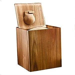 KEDUODUO Contenedor de Grano, dispensador de arroz, dispensador de Alimentos con encimera de Madera, con Tapa y cucharón de arroz, harina de Soja y Cubo de Comida de la Cocina, 10 kg / 20kg,B,10KG