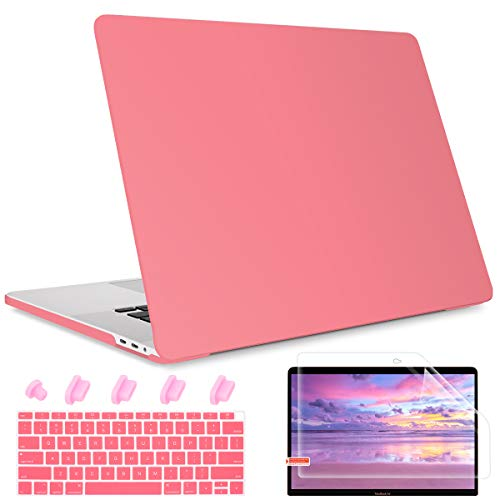 Maychen MacBook Air 13 inch Case 2020 2019 2018 Release A1932 A2179 with Retina Display, Plastic Hard Shell case Keyboard Cover Compatible with Newest Air 13 with Touch ID, Cream Pink