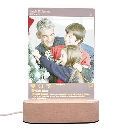 Weihnachtslampe personalisierte Nachtlicht benutzerdefinierte Foto 3 Farbe Acryl Licht USB LED-Licht Jubiläum für Frauen(3 Farbe)