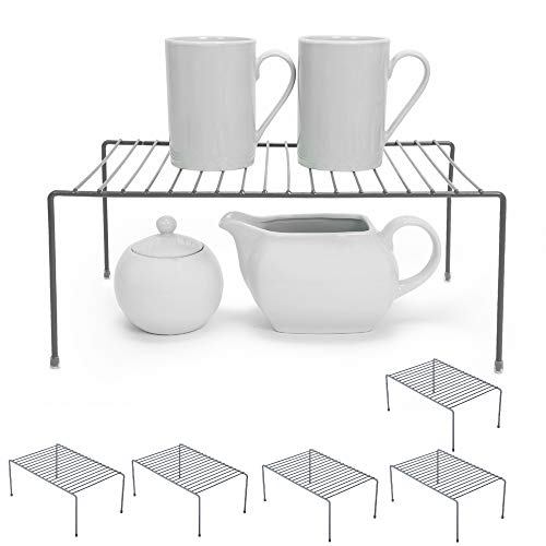 Smart Design Cabinet Storage Shelf Rack - Medium (8.5 x 13.25 Inch) - Non-Slip Feet - Steel Metal - Rust Resistant Coating - Dish, Counter, Pantry Organization - Kitchen [Charcoal Gray] - Set of 6