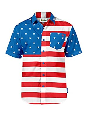 Men's Tropical American Flag Aloha Shirt: Large
