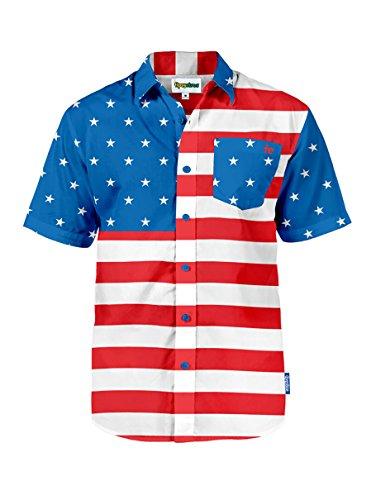 Tipsy Elves Men's American Flag Button Down Shirt - Patriotic USA Red White and Blue Hawaiian Shirt (XL3)