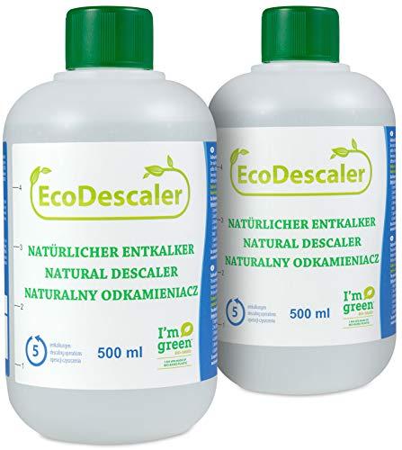 Ökologischer Entkalker 2x500 ml | Flüssig-Entkalker für alle handelsüblichen Kaffeevollautomaten und Espressomaschinen | 5 Entkalkungsvorgänge je Flasche | Set aquali