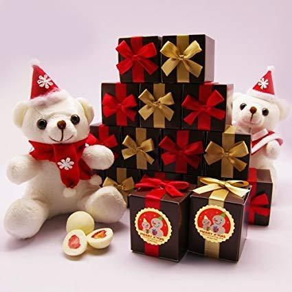クリスマスプチギフト メリーBOX 30個セット 送料無料(ホワイトストロベリーチョコ 2個入り)