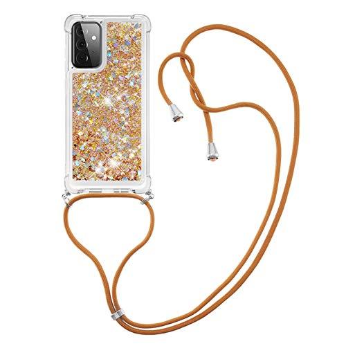 HülleLover Handykette Handyhülle für Samsung A72 5G, Glitzer Flüssig Bewegende Treibsand Transparent Silikon Hülle mit Kordel zum Umhängen Necklace Hülle Band für Samsung Galaxy A72 5G, Golden