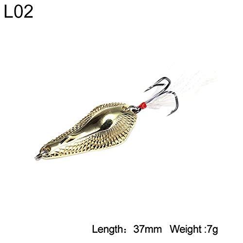 N / A Verlockend Köder Metall Spinner Löffel Fishing Sinking Skala Cicada Harte Köder mit Feder Treble Hakengeschirr Zum Angeln (Color : 3404 37mm 7g L02)