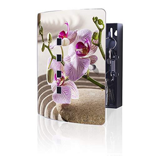 banjado Design Schlüsselkasten aus Edelstahl | 10 Haken für Schlüssel | praktischer Magnetverschluss | 24x21,5cm Motiv Zen Relax