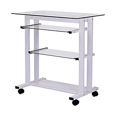 HOMCOM Glass Top Mobile Home Office Computer Cart Desk
