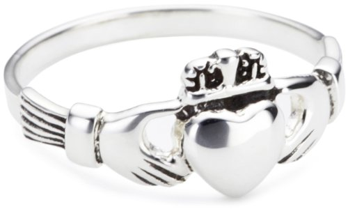 Heritage Women's Sterling Silver Celtic Irish Claddagh Ring, Silver, L