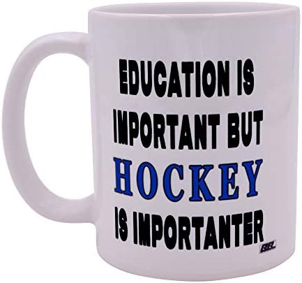 Funny Sarcastic Coffee Mug Education is Important But Hockey Is Importanter Novelty Cup Great product image
