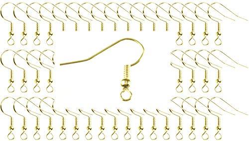 Miniblings 300x Ohrhaken Rohlinge vergoldet - Ohrringe zum DIY selber machen basteln I Fischhaken Haken Set zur Schmuckherstellung - 19x22mm