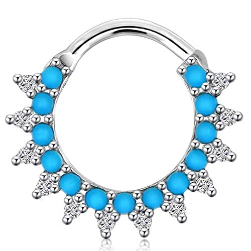 OUFER 1 st 16 g Daith Oorbellen Hoop Turkoois Kralen Sparkling Septum Ring Neus Ringen Piercing Sieraden