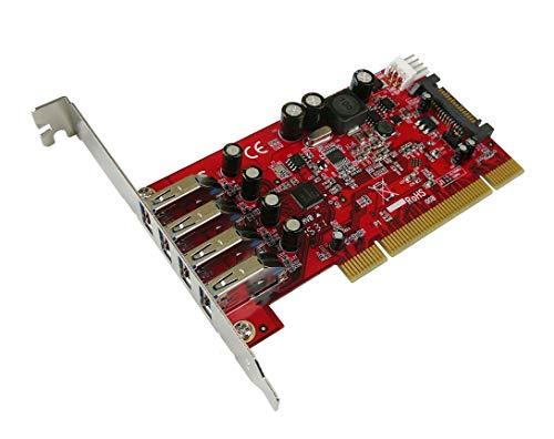 Kalea Informatique PCI-Controller-Karte USB 3.0 SuperSpeed – 4 Ports – Profi-Serie / hochwertige Komponenten – Treiber vorinstalliert für Windows/Mac/Linux.